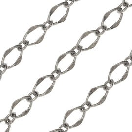 Antiqued Silver Plated Bulk Chain, 8 & 4mm Galeria Links, Sold By The Foot