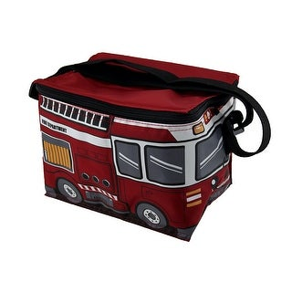 Red Fire Engine Nylon Ladder Truck Insulated Lunch Tote - 6.5 X 8.5 X 6 inches