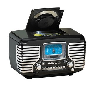 Crosley Corsair Vintage Style Radio - CD Player Alarm Clock - Black - 9 in. x 13 in. x 9 in.