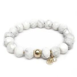 White Howlite 'London' Stretch Bracelet, 14k over Sterling Silver