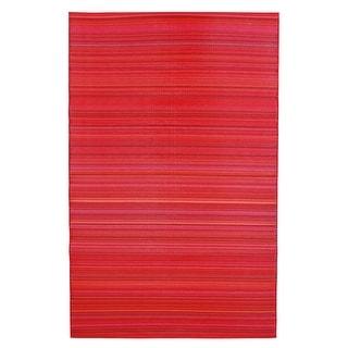 Fiesta Red Stripes Indoor Outdoor Reversible Rug - Big