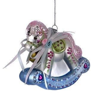 Kurt Adler Babys First Blue and Pink Rocking Horse Ornament