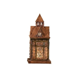 Ellington House Glass and Metal Architectural Candle Lantern - 5 in. x 5 in. x 10.5 in.