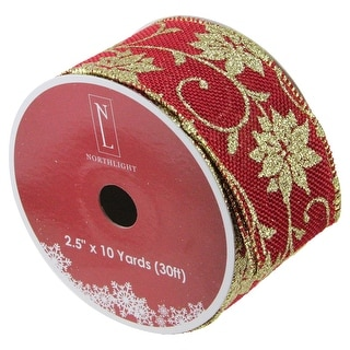 "Cranberry Red and Gold Poinsettia Christmas Wired Craft Ribbon 2.5"" x 10 Yards"