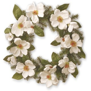 North Valley Spruce Magnolia Artificial Wreath - 24-Inch, Unlit