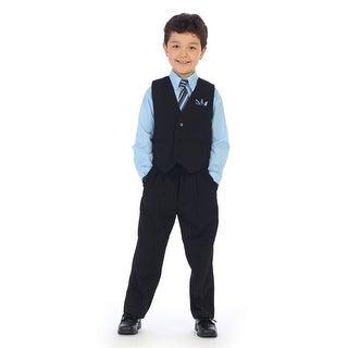 Angels Garment Little Boys Sky Blue Shirt Pin Striped Vest 4 Pc Pants Set