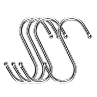S Shape Hook Rack Stainless Steel for Kitchenware Pots Utensil Coat Towel Holder - Silver