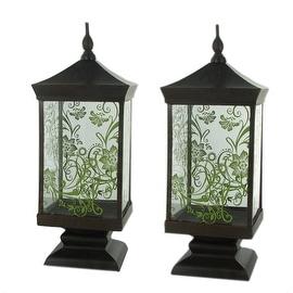 Set of 2 Pierced Metal Glass Thai Lanterns