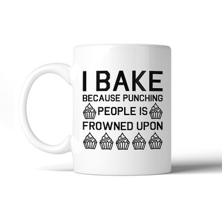 I Bake Because Punching People Cute Mug Funny Graphic Coffee Mug