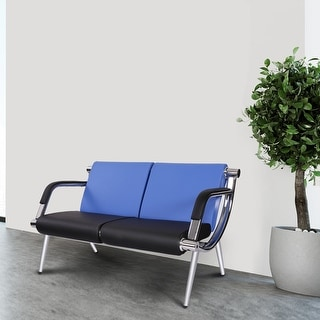 Kinbor 2-Seat Leather Waiting Chair Reception Bench for Salon Barber Bank Hospital
