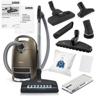 Miele Complete C3 Brilliant Canister HEPA Vacuum Cleaner + SEB-236 Powerhead + XL Parquet Floor Brush + Combination Floor Brush