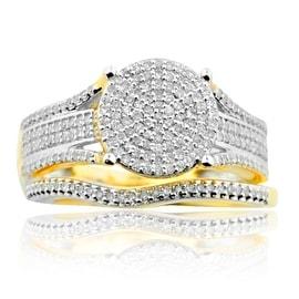 10K Yellow Gold Bridal Wedding Set Engagement Ring and Band 1/2ctw (i2/i3, i/j)