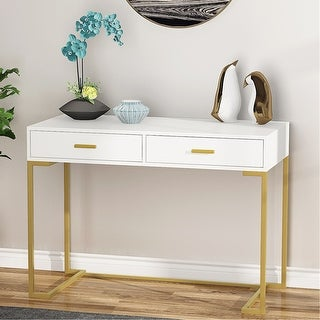 Computer Desk Writing Desk with 2 Drawers - White-gold