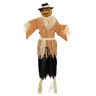 6' Animated Jack-o'-Lantern Scarecrow Halloween Decoration