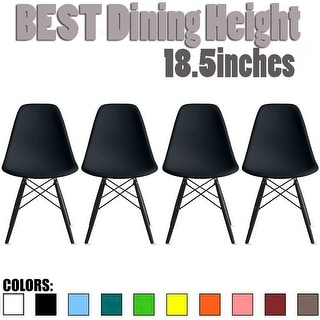 2xhome Set of 4 Retro Designer Plastic Molded Shell Dining Chairs Dark Wooden Kitchen Office DSW Eiffel Dowel Bedroom Desk