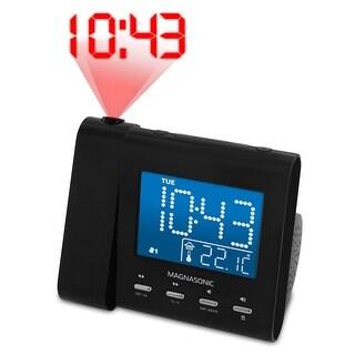 Magnasonic Projection Alarm Clock with AM/FM Radio, Battery Backup, Auto Time Set, Dual Alarm & 3.5mm Audio Input