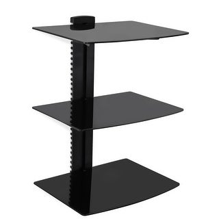 Mount-It! Wall Mounted Floating Shelf Bracket Stand with Three Shelves and Tempered Glass (MI-813)