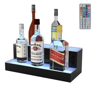 Gymax 20'' 2 Step LED Lighted Liquor Bottle Display Illuminated Bottle Shelf Home Bar - as pics