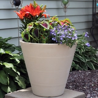 "Sunnydaze Walter Outdoor Double-Walled Flower Pot Planter - Beige - 16"" - Single"