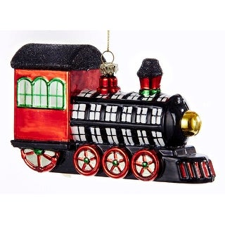 Kurt Adler Black White Red Plaid Patterend Train Holiday Ornament