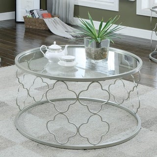 Furniture of America Jenn Contemporary Gold Metal Round Coffee Table