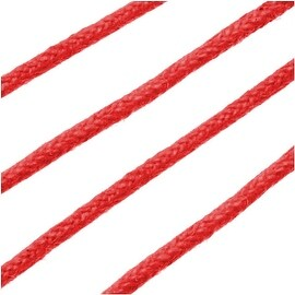 Waxed Cotton Cord, 2mm Round, 4 Meters / 13.1 Feet, Red