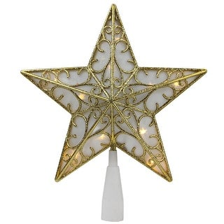 "9"" Gold and White Glittered Star LED Christmas Tree Topper - Warm White Lights"