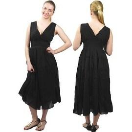100% Cotton Summer Dress Sleeveless V-neck Sundress Empire Waist, Blue Black Orange White