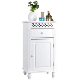 Gymax Storage Floor Cabinet Bathroom Organizer Floor Cabinet Drawer Kitchen White