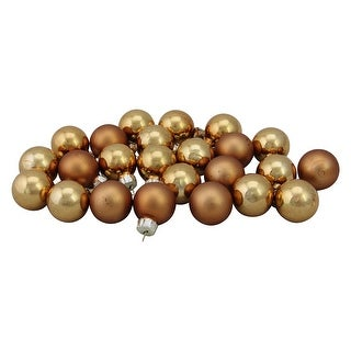 "24ct Gold and Bronze 2-Finish Bronze Glass Christmas Ball Ornaments 1"" (25mm)"