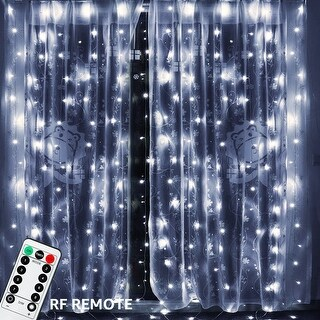 19.7ft x 9.8ft 600 LEDs Window Curtain String Lights with Remote Control, 8 Lighting Modes