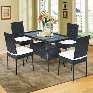 Costway 5PCS Patio Rattan Dining Set Cushioned Chair Table w/Glass Top