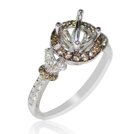 Halo Diamond Engagement Ring Setting Coganc and White Fits 1ct Solitaire 0.64cttw