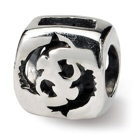 Sterling Silver Reflections Pisces Zodiac Antiqued Bead (4mm Diameter Hole)