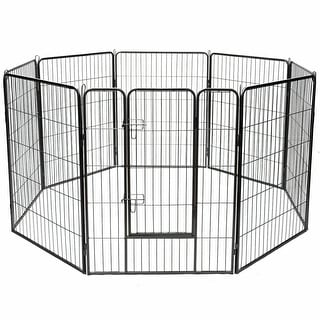 "Costway 40"" 8 Panel Pet Puppy Dog Playpen Door Exercise Kennel Fence"