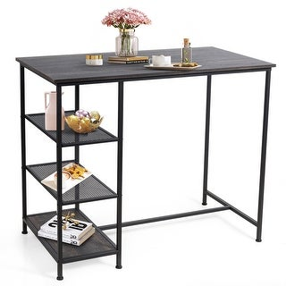 Costway Bar Pub Table Industrial Counter Dining Table with Metal Frame
