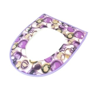 Purple White Cherry Pattern Soft Flannel Surface Toilet Seat Cover Warmer Pad