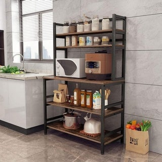 5-Tier Kitchen Bakers Rack with Hutch Organizer Rack - Rustic Brown