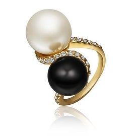 Gold Plated Double Pearl & Onyx Swirl Ring
