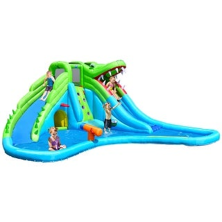 Costway Inflatable Kid Crocodile Bounce House Dual Slide Climbing Wall