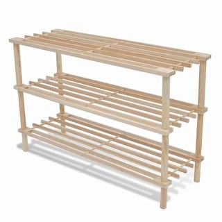 vidaXL Wooden Shoe Racks 2 pcs 3-Tier Shoe Shelf Storage