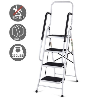 Gymax 2 in 1 Non-slip 4 Step Ladder Folding Stool w/ Handrails 330Lbs