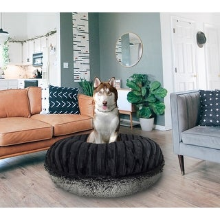 Bessie and Barnie Signature Midnight Frost/ Black Puma Luxury Shag Extra Plush Faux Fur Bagel Pet / Dog Bed