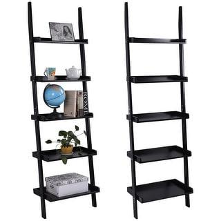 Costway Versatile Black 5-Tier Bookshelf Leaning Wall Shelf Ladder