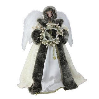 """17.5"""" White and Brown Angel with Wreath Christmas Tree Topper - Unlit"""