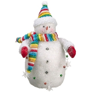 """15"""" White and Red Chubby Snowman with Ornaments Strand Christmas Tabletop Figurine"""