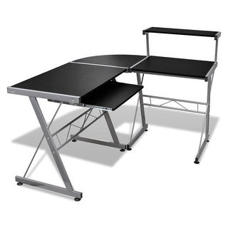 vidaXL Computer Desk Workstation With Pull Out Keyboard Tray Black