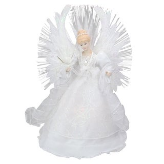 "15"" Deluxe White Fiber Optic Floral Angel Christmas Tree Topper"