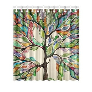 Shower curtain Butterfly Tree Nature Pattern with 12 Hooks