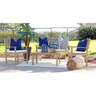 Siarth 4-piece Wood Outdoor Chat Set with Cushion Pads by Havenside Home